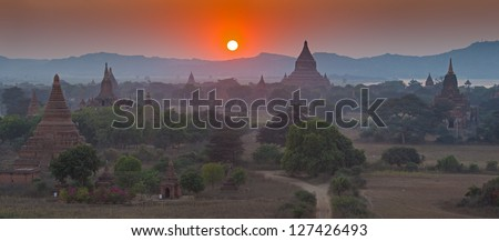 Sunset over temples of Bagan in Myanmar
