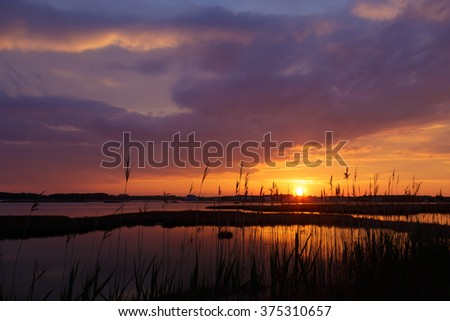 Sunset over the backwater in Delaware