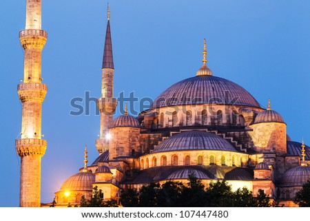 Sunset over The Blue Mosque, Istanbul Turkey - stock photo
