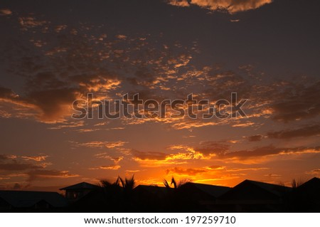 sunset over the caribbean island of dominican republic - stock photo