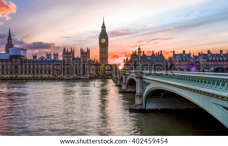 Sunset over the City of Westminster in London, United Kingdom - stock photo