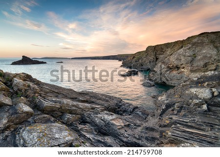 Sunset over the Cornwall coast near Porthcothan - between Newquay and Padstow - stock photo