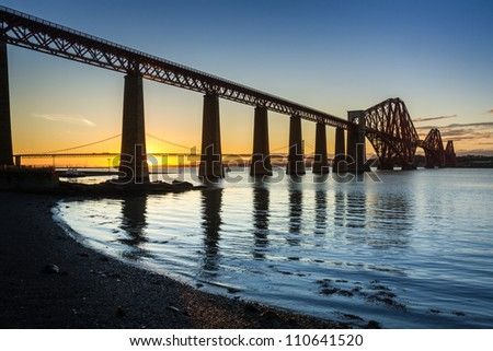 Sunset over the Forth Road Bridge