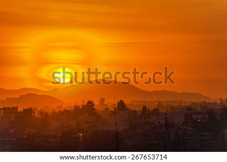 Sunset over the historic city of Arequipa, Peru - stock photo