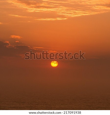 sunset over the horizon - stock photo