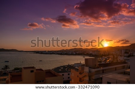 Sunset over the Ibiza town. Balearic Islands. Spain - stock photo