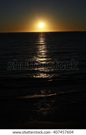 Sunset over the Indian Ocean near Perth, Australia.  - stock photo