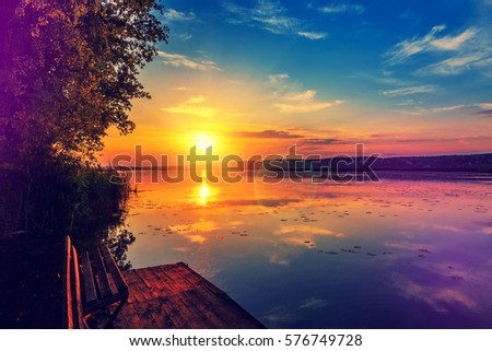 sunrise with clouds over water orange sunset stock images royalty free images vectors