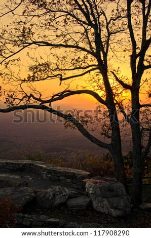 Sunset Over the Mountains - stock photo
