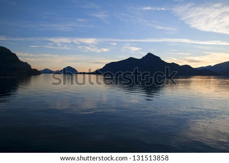 Sunset over the mountains in Howe Sound near Vancouver, British Columbia, Canada