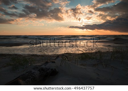Sunset over the ocean at a swedish beach