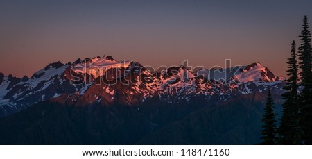 Sunset Over The Olympic Range - Olympic National Park - stock photo