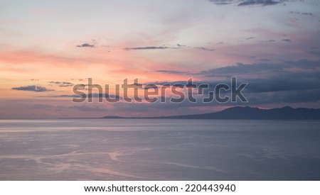Sunset over the Pacific Ocean in Puerto Vallarta, Mexico - stock photo
