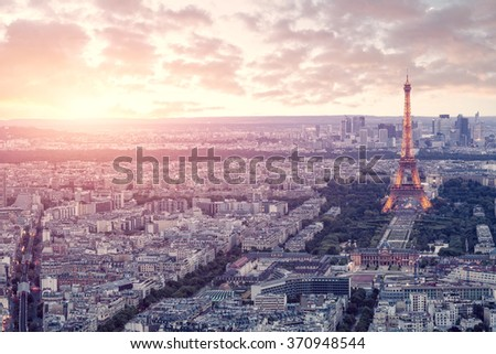 Sunset over the Paris - stock photo
