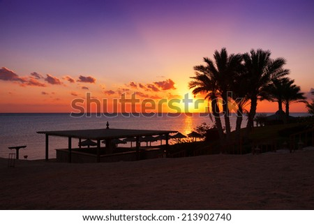 Sunset over the Red sea in Marsa Alam, Egypt - stock photo