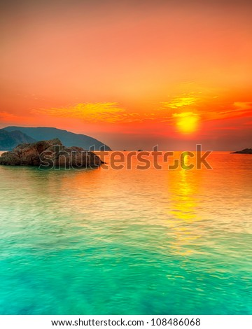 Sunset over the sea. Con Dao. Vietnam - stock photo