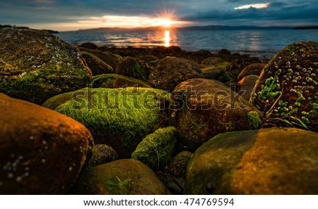 Sunset over the sea in Norway over the Arctic coast of Norway
