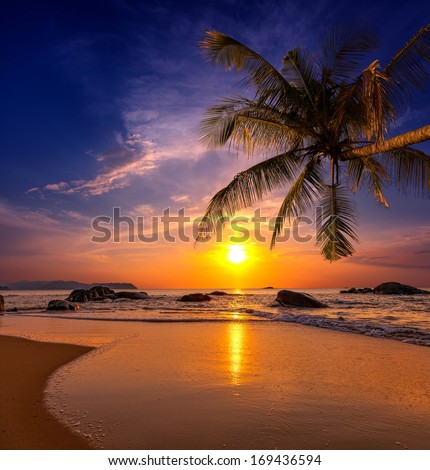 Sunset over the sea. Province Khao Lak in Thailand - stock photo