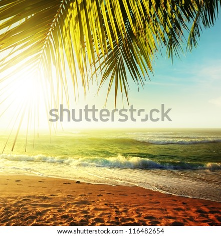 Sunset over the tropical beach. HDR processed. - stock photo