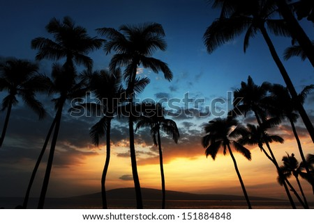 Sunset over the tropical paradise of Hawaii - stock photo