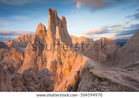 Sunset over the Vajolet towers in Dolomites