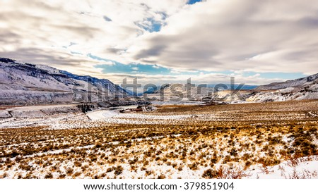 Sunset over the Winter Landscape of the semi arid Thompson River Valley in central British Columbia, Canada - stock photo