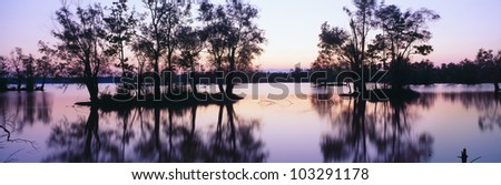 Sunset over wildlife refuge of Lake Fausse Pointe State Park, Louisiana - stock photo