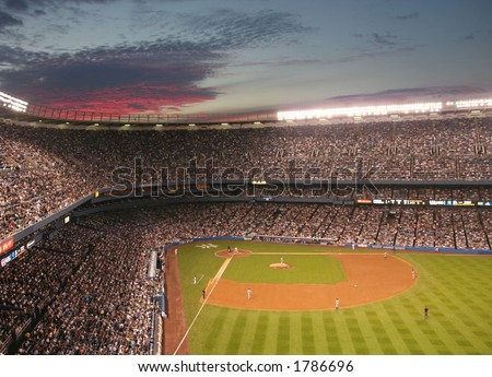 Sunset over Yankee Stadium - stock photo