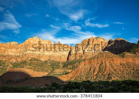 Sunset over Zion National Park, Utah, USA.