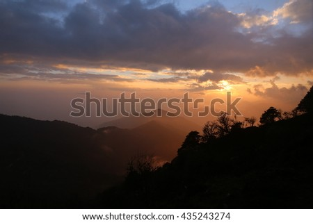 Sunset overlooking the Himalayan mountains.
