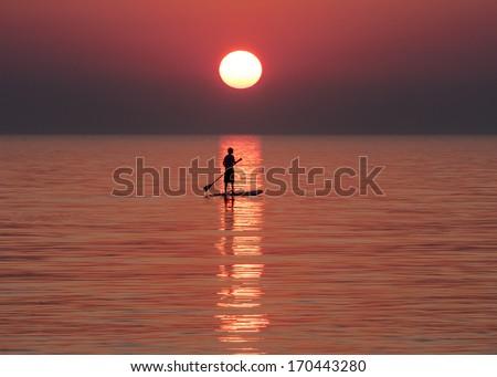 Sunset Paddle Portrait - stock photo