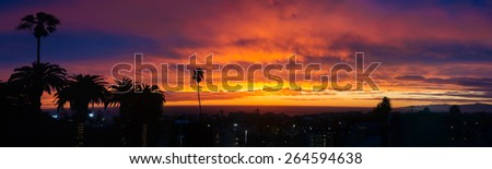 Sunset panorama above Hermosa beach, California, USA