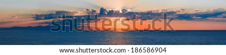 Sunset Panorama at Elba Island - stock photo