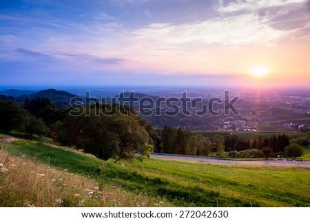 Sunset panorama from Sasbachwalden over Rhine basin, Achern, Germany - stock photo