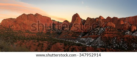 Sunset panorama in Kolob Canyon, Zion, Utah, USA.