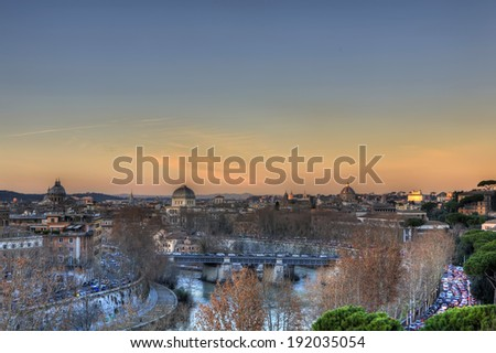 Sunset panorama of Rome from Aventine Hill, Italy