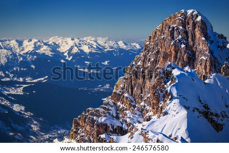 Sunset panorama over The Three Valleys of France the largest ski domain in the world as seen from one of the peaks in Courchevel - stock photo