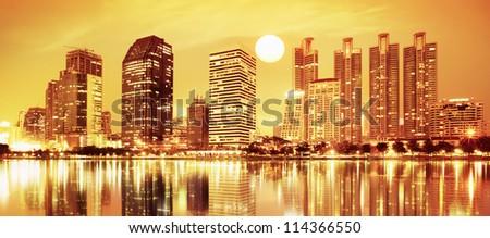 sunset panorama scenes of city - stock photo