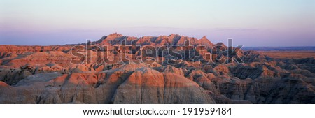 Sunset panoramic view of mountains in Badlands National Park in South Dakota - stock photo