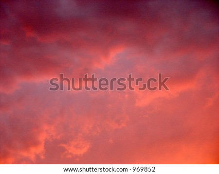Sunset Pink Clouds - at dusk over the Flaming Gorge lake, Wyoming - stock photo
