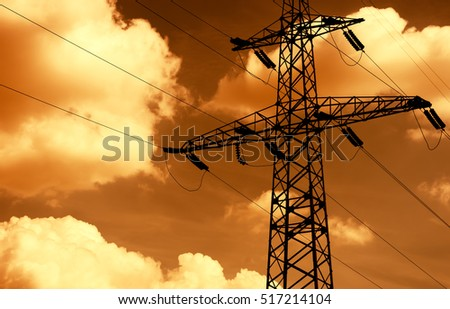 Sunset power line background hd