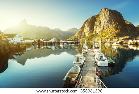sunset - Reine, Lofoten islands, Norway - stock photo