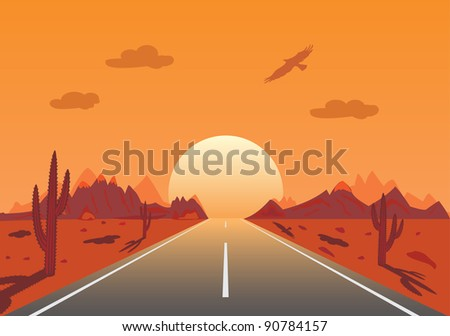 Sunset Road in mexican desert,illustration