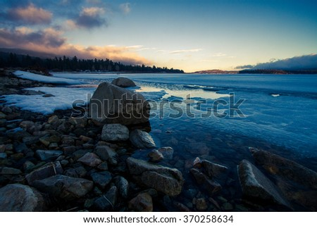 Sunset, Rocks, and Ice