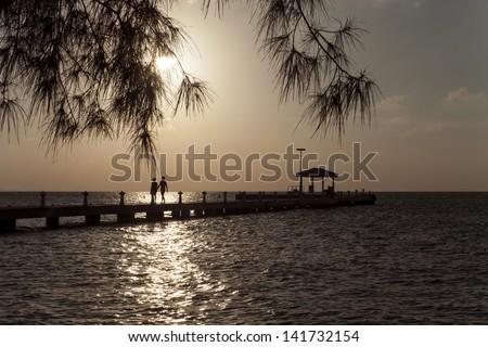 Sunset - Rum Point, Grand Cayman - stock photo