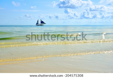 Sunset sailing in the sea - stock photo