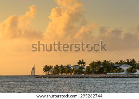 Sunset scene at a Caribbean island - stock photo