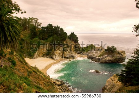 Sunset Scene in California's Big Sur - stock photo