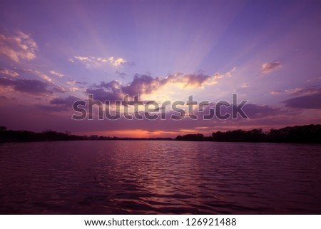 sunset scenery by the riverside,  natural landscape outdoor, Tangshan City, Hebei Province, China.