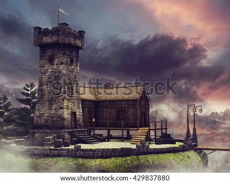 Sunset scenery with a fantasy tower, house, and bridge. 3D illustration.